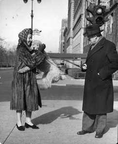 Conductor Artur Rodzinski and his wife with their happy poodle, 1944.